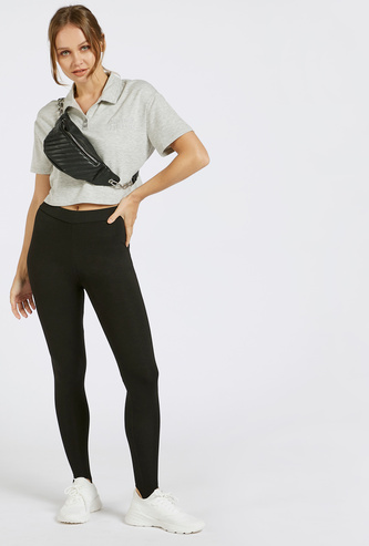 Solid Mid-Rise Stirrup Leggings with Elasticised Waistband