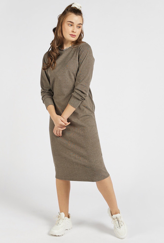 Textured Round Neck Midi Shift Dress with Long Sleeves