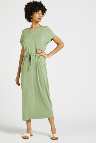 Solid Midi Shift Dress with Extended Sleeves and Tie-Ups