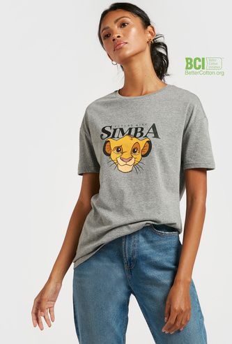 Simba Print T-shirt with Round Neck and Short Sleeves