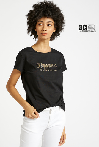 Slogan Embroidered T-shirt with Round Neck and Short Sleeves
