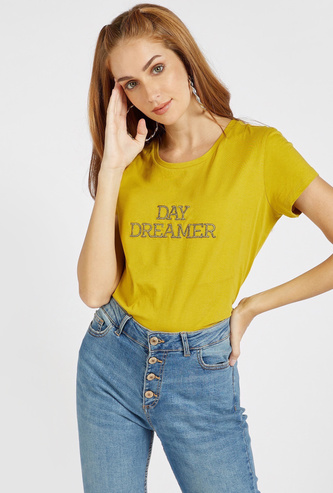 Slogan Embroidered T-shirt with Round Neck and Cap Sleeves