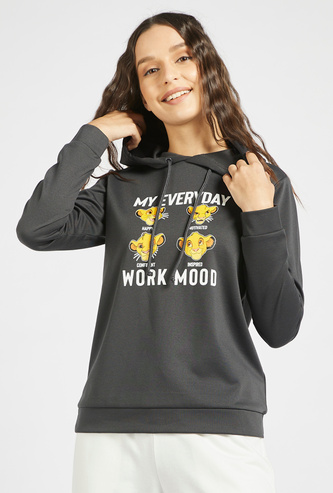 The Lion King Print Hooded Sweatshirt with Long Sleeves