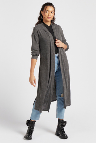 Textured Robe with Long Sleeves and Tie-Up Belt