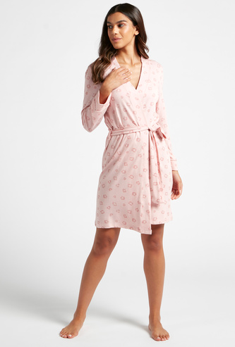 All-Over Printed Robe with Long Sleeves and Tie-Up