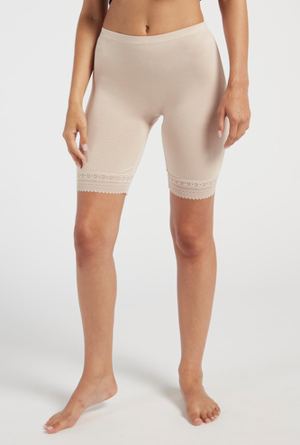Solid Shaping Leggings with Elasticised Waistband and Lace Detail