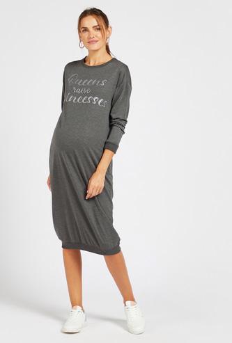 Typographic Print Maternity Sleepshirt with Long Sleeves