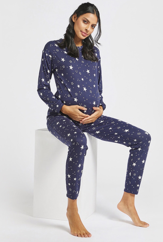All-Over Print Maternity Round Neck T-shirt and Full-Length Pyjama Set
