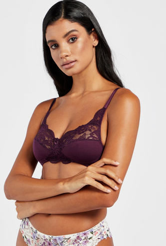 Non-Padded Lace Panelled V-neck Bra with Hook and Eye Closure