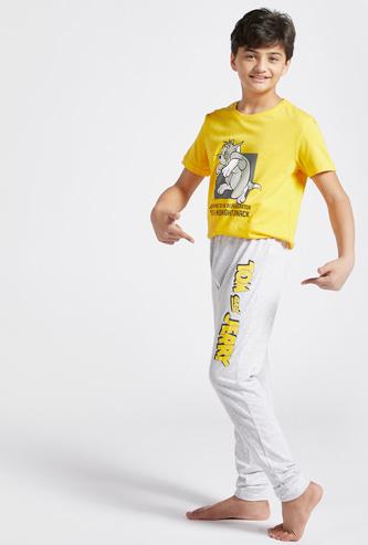 Tom and Jerry Print T-shirt and Pyjama Set