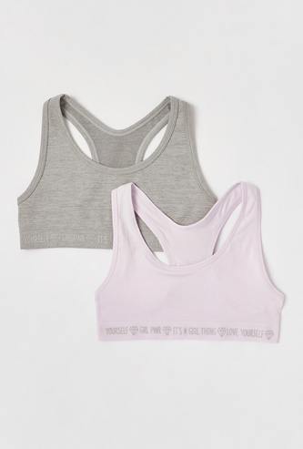 Set of 2 - Solid Sports Bra with Elasticated Hem and Racerback