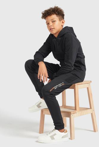 Embossed Hooded Sweatshirt with Text Printed Jog Pants