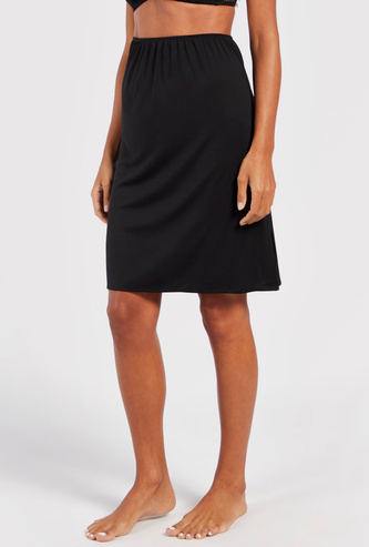 Solid Skirt Slip with Elasticised Waistband and Side Slit