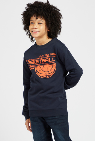 Basketball Printed Round Neck Sweatshirt with Long Sleeves