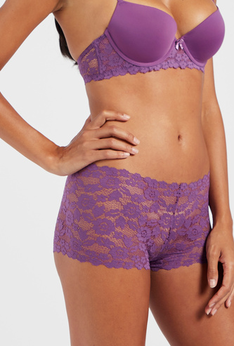 Lace Accented Boyshort Briefs