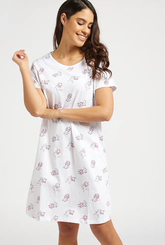 All-Over Lulu Caty Print Sleep Dress with Round Neck and Short Sleeves
