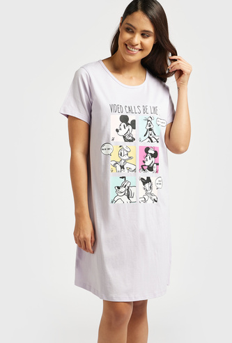 Mickey Mouse & Friends Print Round Neck Sleepshirt with Short Sleeves