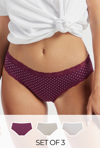 Set of 3 - Assorted Bikini Briefs with Elasticated Waistband and Lace Detail
