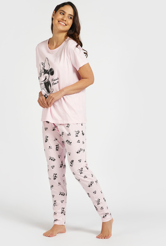 Minnie Mouse Print Round Neck T-shirt and Pyjama Set