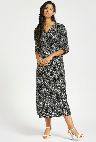 All-Over Printed A-line Midi Dress with Smocked Sleeves
