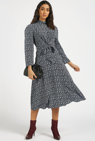 All-Over Floral Print A-line Midi Dress with Front Knot Detail