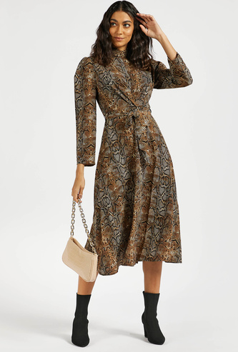 All-Over Animal Print A-line Midi Dress with Front Twist Detail