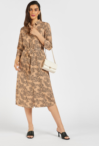 Animal Print Midi Belted Shirt Dress with 3/4 Sleeves