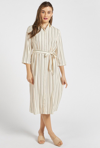 Striped Midi Shirt Dress with 3/4 Sleeves and Tie-Up Accent