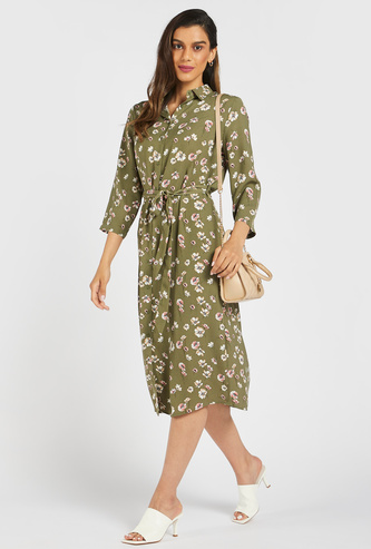 Floral Print Midi Shirt Dress with 3/4 Sleeves