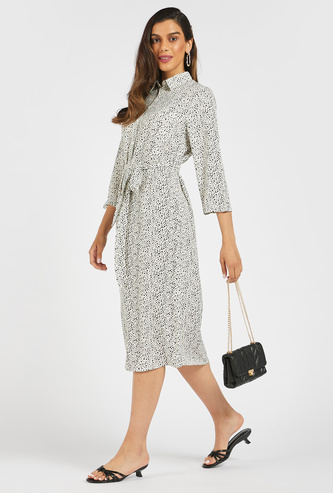 All-Over Print Belted Midi Shirt Dress with 3/4 Sleeves