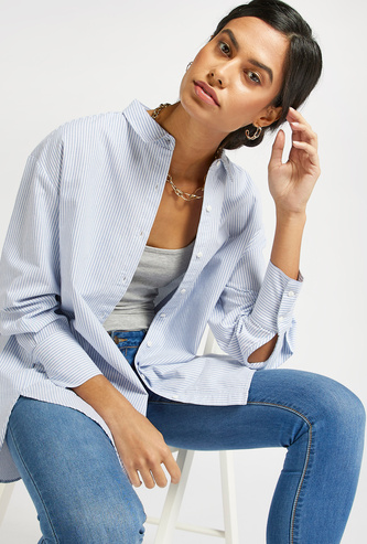 Striped Oversized Shirt with Spread Collar and Long Sleeves