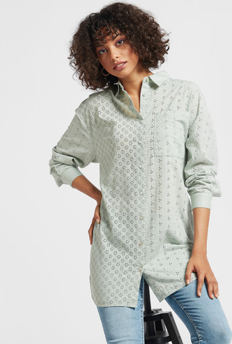 Broderie Textured Tunic with High Low Hem