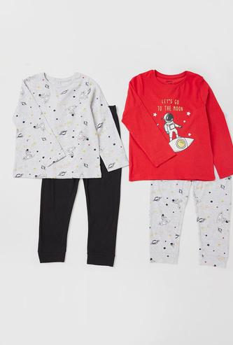Set of 2 - Space Print T-shirt and Pyjama Set