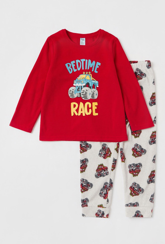 Graphic Print T-shirt with Long Sleeves and All-Over Printed Pyjamas Set