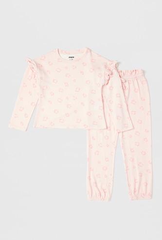 Animal Print Long Sleeves T-shirt and Full Length Pyjama Set