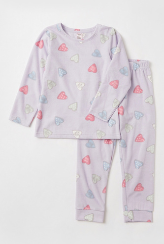 All-Over Hearts Print T-shirt with Long Sleeves and Pyjamas Set
