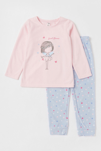 Graphic Print T-shirt and Full-Length Pyjama Set