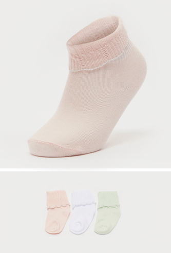 Set of 3 - Solid Ankle Length Socks with Scalloped Hem