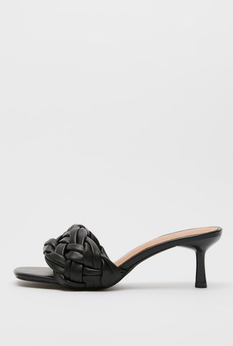 Braided Slip-On Heel Sandals