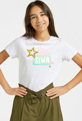 JoJo Siwa Graphic Print T-shirt with Round Neck and Short Sleeves