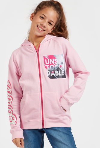 Barbie Graphic Print Jacket with Long Sleeves and Hood