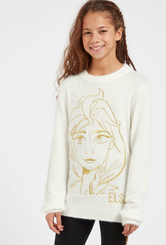 Elsa Embroidered Sweater with Round Neck and Long Sleeves