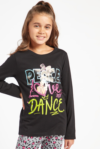 JoJo Siwa Print Round Neck T-shirt with Long Sleeves