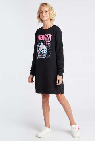 Cruella Print Mini Sweat Dress with Round Neck and Long Sleeves
