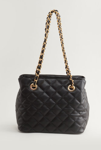 Quilted Handbag with Chain Detail Handles