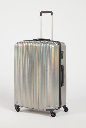 Textured Travel Hard Case Suitcase with Retractable Handle