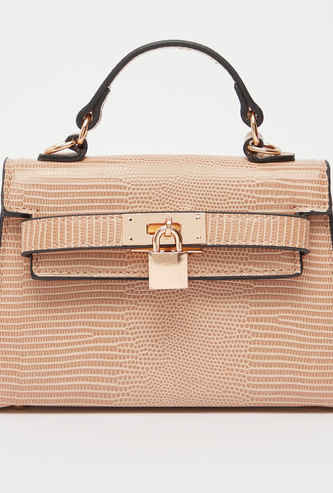 Textured Satchel Bag with Detachable Strap and Magnetic Snap Closure