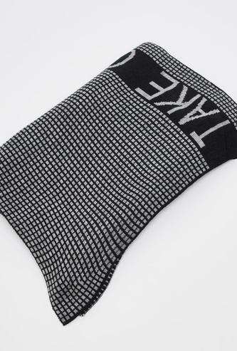 Checked Scarf with Typographic Print