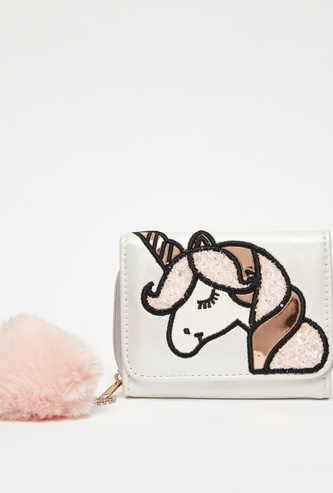 Unicorn Applique Embellished Wallet with Pom-Pom Accent