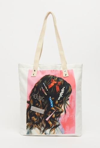 Graphic Print Bag with Twin Handles and Embellishments